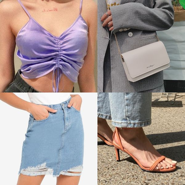 summer outfit for women sexy cropped top lilac tight denim mini skirt heels