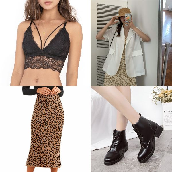 summer outfit for women fashion sexy animal prints leopard skirt bralette blazer