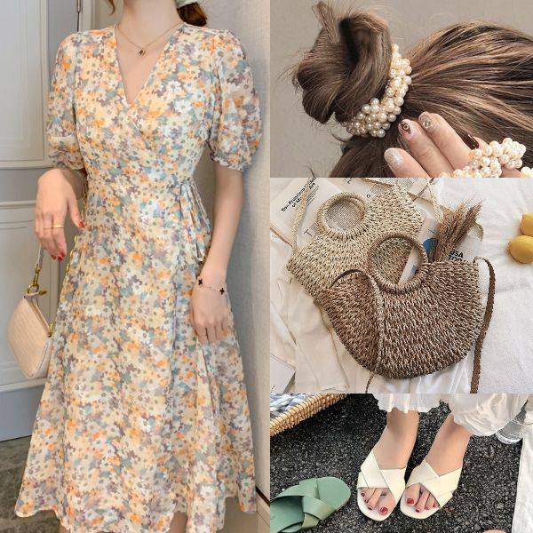 summer outfit for women fashion elegant floral dress puff sleeves rattan bag