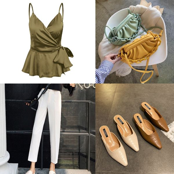 summer outfit for women elegenat white pants satin peplum blouse mules workplace appropriate