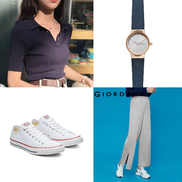 summer fashion chic classy polo top giordano knitted pants skagen watch converse