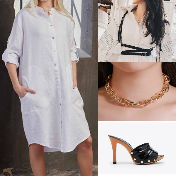 summer fashion badass punky outfit shirt dress faux leather cage belt chain necklace