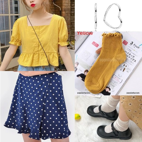 summer outfit for women fashion cute bright yellow polka dot skirt british leather shoes