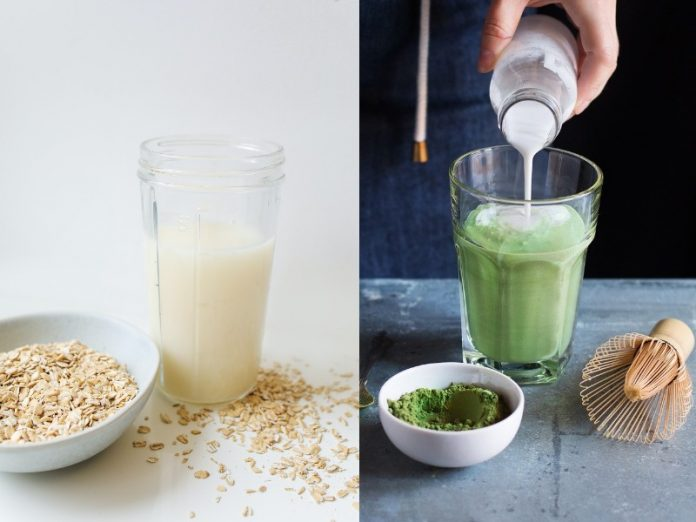 homemade oatmilk recipe and matcha oat milk latte