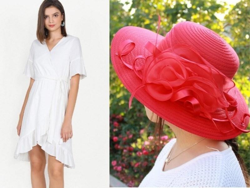 white ruffle dress red sun hat singapore national day