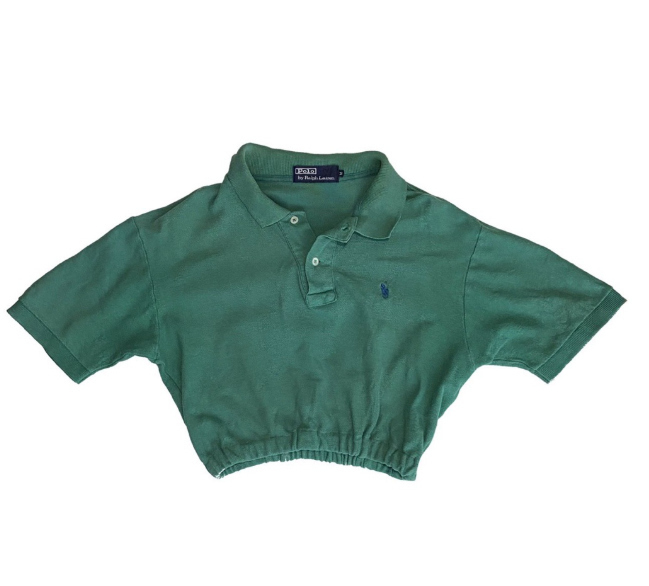 cropped polo shirt cinched waist upcycling clothes