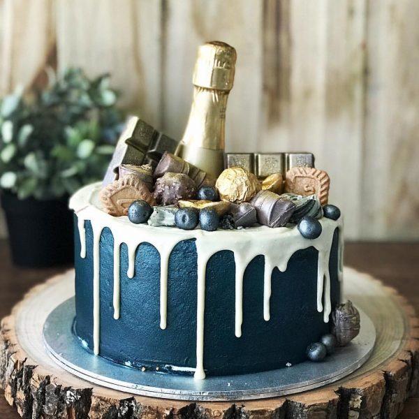 21st birthday cake singapore midnight blue champagne cake