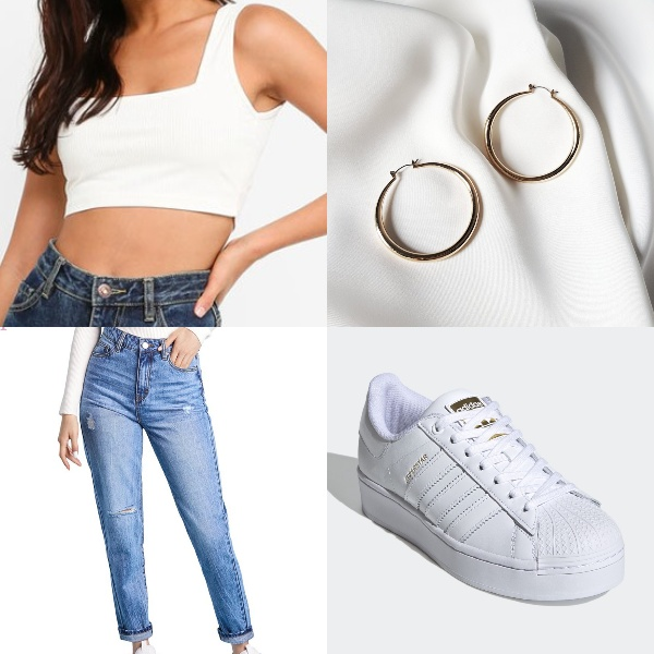 basic high waisted jeans outfit