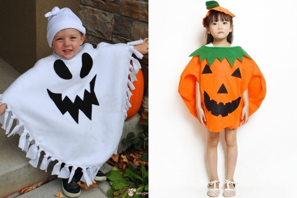 cute ghost pumpkin kids halloween costume idea
