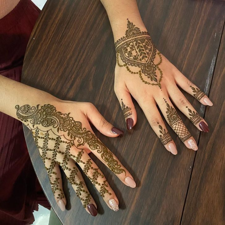lattice, paisley, arch deepavali henna designs