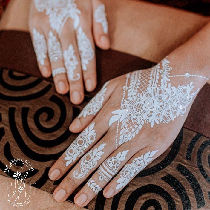 white floral henna design deepavali henna