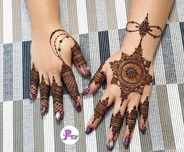 chain deepavali henna design