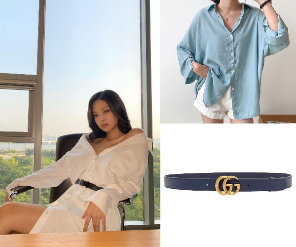 black pink jennie how to style oversized shirt with belt