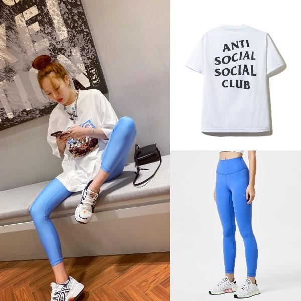 how to style oversized shirt athleisure hyun ah blue tights anti social social club
