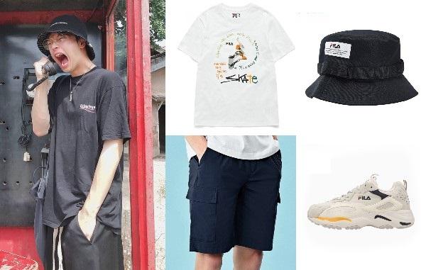 korean oversized shirt yook sungjae btob bucket hat shorts