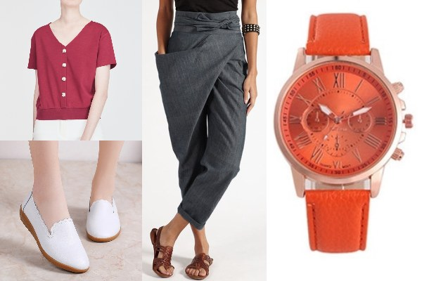 mom outfit cny red top pants watch practical dressing