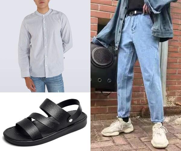 chinese new year outfits for men denizen mandarin collar shirt jeans sandals