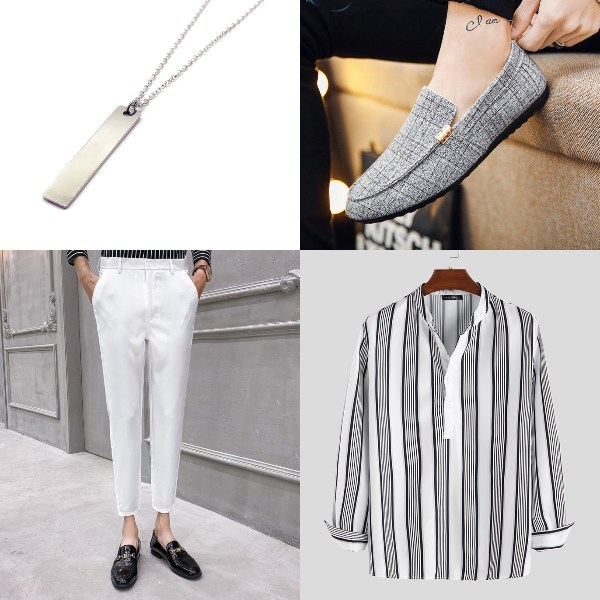 korean fashion style chinese new year outfit for men oppa v neck shirt white pants necklace boat shoes