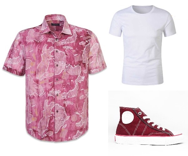 cny outfit 2021 men bold crocodile printed red shirt white tshirt red sneakers