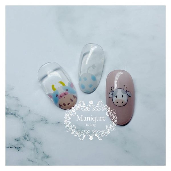 maniqure by ling home based nail salon north singapore disney cow designs