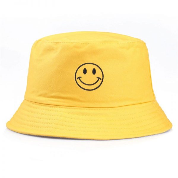 feng shui colours bright yellow smiley bucket hat