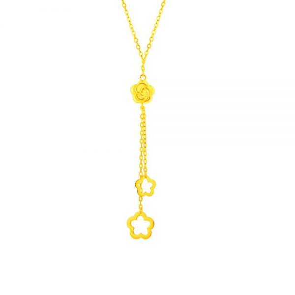 feng shui colours rat gold moneymax jewellery 916 love gold eden dangling rose necklace