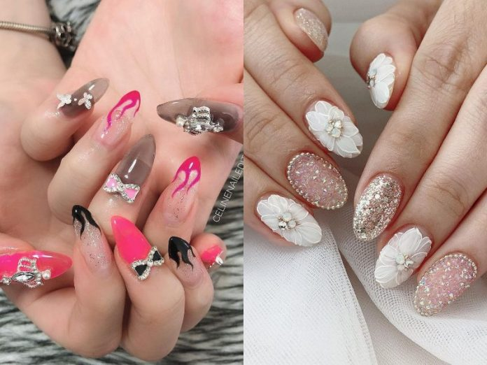 cny nail home based nail salon gel extension manicure hot pink white bling