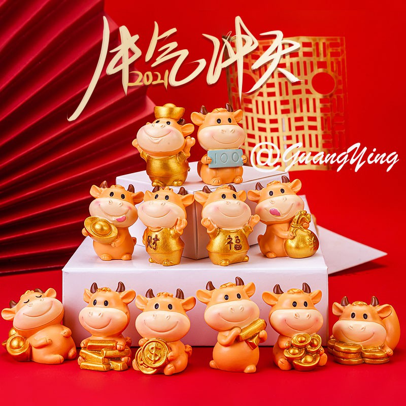 CNY decorations miniature lucky cow statues